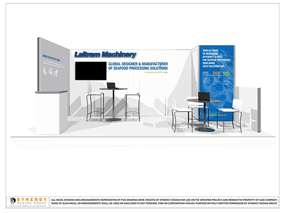 laitram 10x20 trade show booth design rendering custom exhibit design