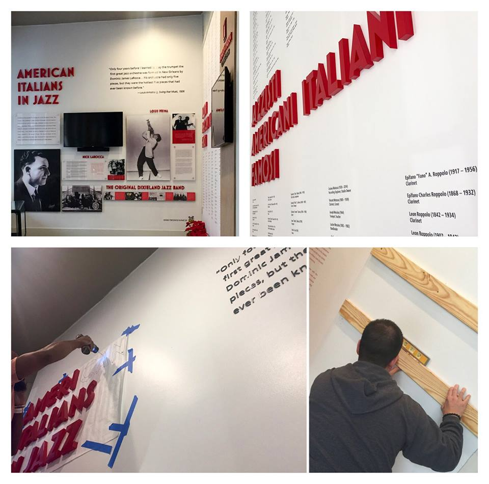 American Italian cultural center Jazz musicians exhibit installation museum display custom exhibit design 3D lettering