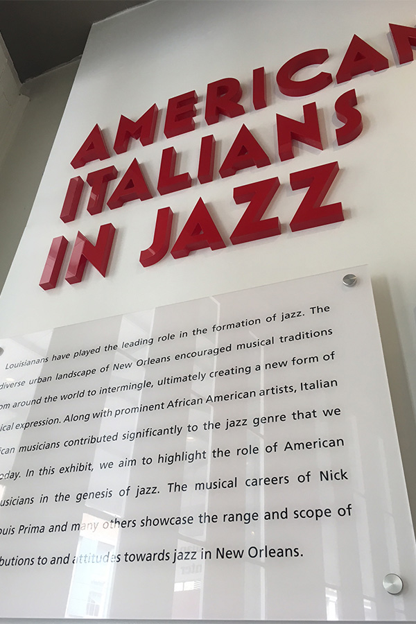 american italian cultural center jazz exhibit close up design 3D signage sign custom exhibit design museum display 3D lettering