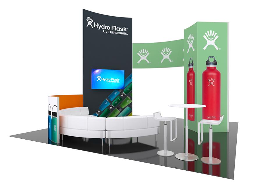 classic lounge area exhibit trade show booth design idea rendering