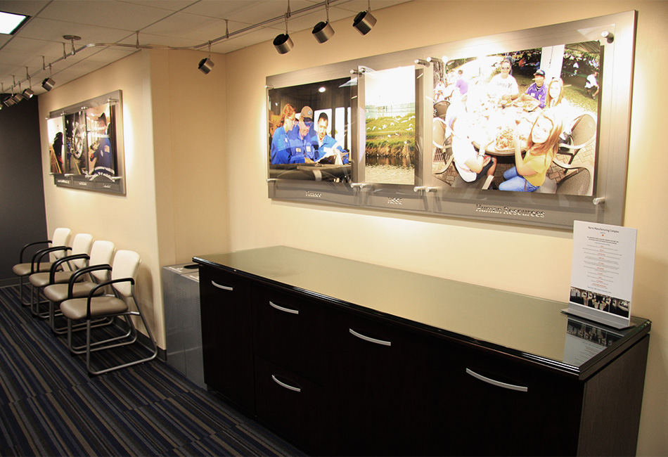norco manufacturing complex branded environment conference room mounted graphics