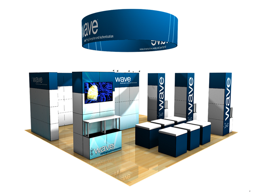 multiquad hanging sign circle large trade show booth design display idea
