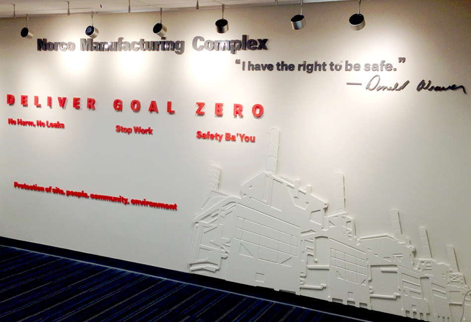 NORCO safety 3D wall custom 3D lettering mission wall