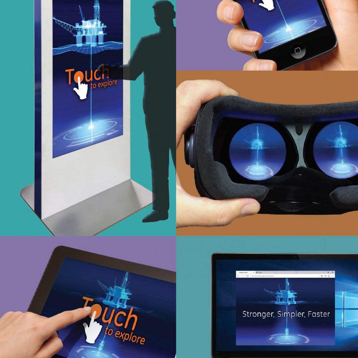 virtual reality interactive technology 3d exhibit booth design ideas synergy design group exhibitry headset kiosk