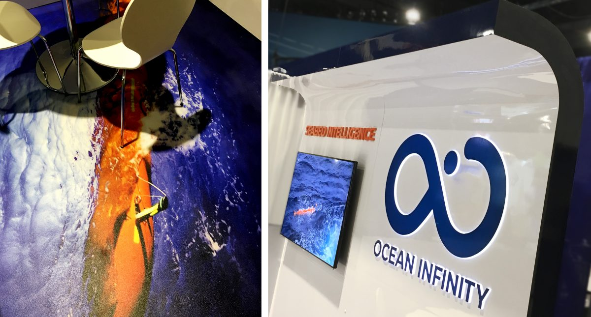 ocean infinity custom 10x10 trade show display graphic flooring