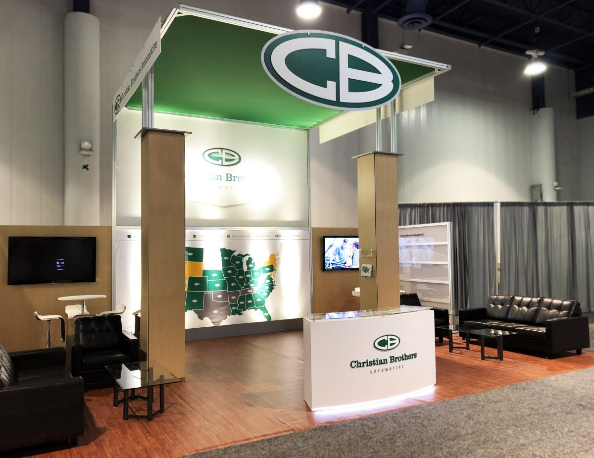 christian brothers automotive trade show booth branded canopy