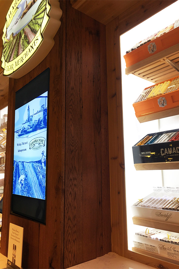 habana port custom humidor retail display monitor