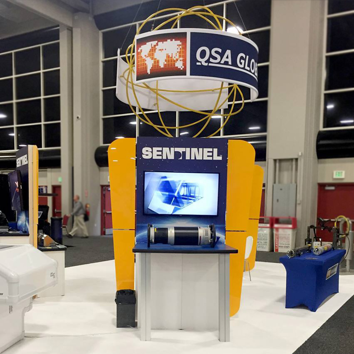 QSA DISPLAY KIOSKS design custom exhibit design interactive kiosk hanging sign display signage interactive