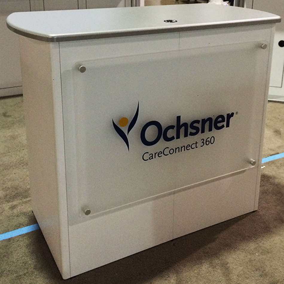 Shop photo of Ochsner counter custom exhibit design