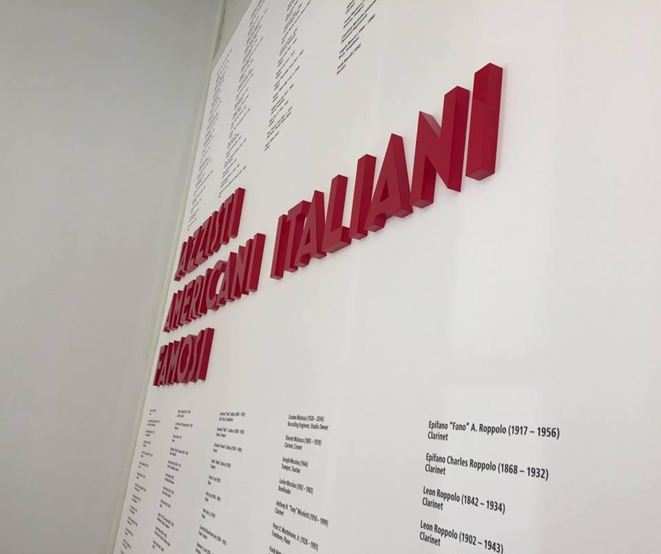 american italian cultural center jazz musicians museum display signage custom exhibit design 3D lettering 3D signage