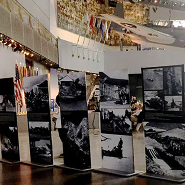 travelling exhibit 75th Anniversary of Pearl Harbor museum display design graphic portable stands columns