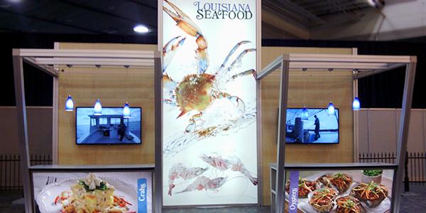 seafood trade show booth display custom exhibit design backlighting double deck exhibit