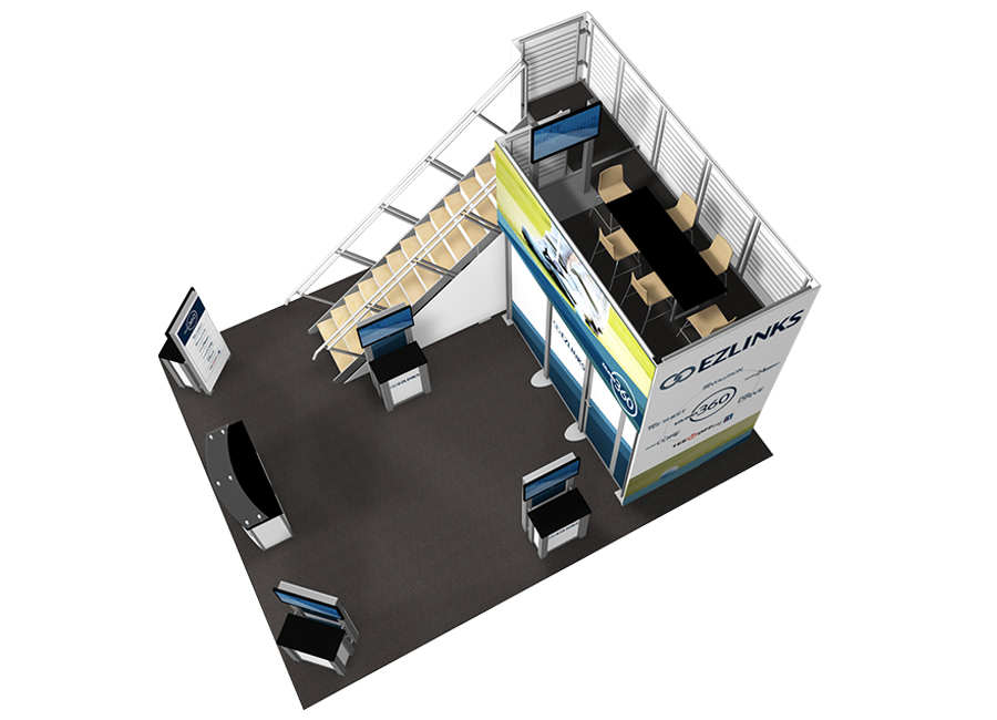 small trade show double deck display rendering