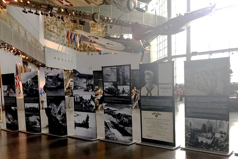 national WWII museum pearl harbor exhibit column portable museum exhibit display