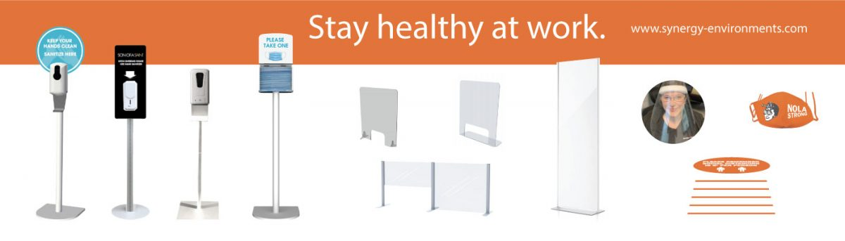 sanitizing stations, partitions, sneeze guards, social distancing graphics, mask dispenser, face shields, face masks, covid solutions
