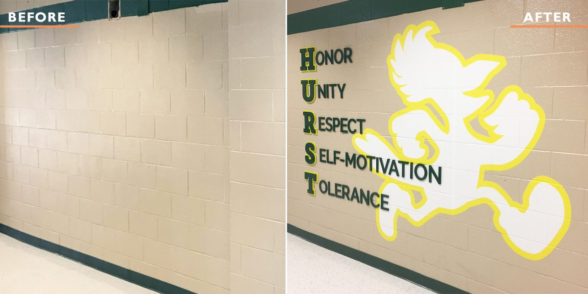 harry hurst middle school branded interior