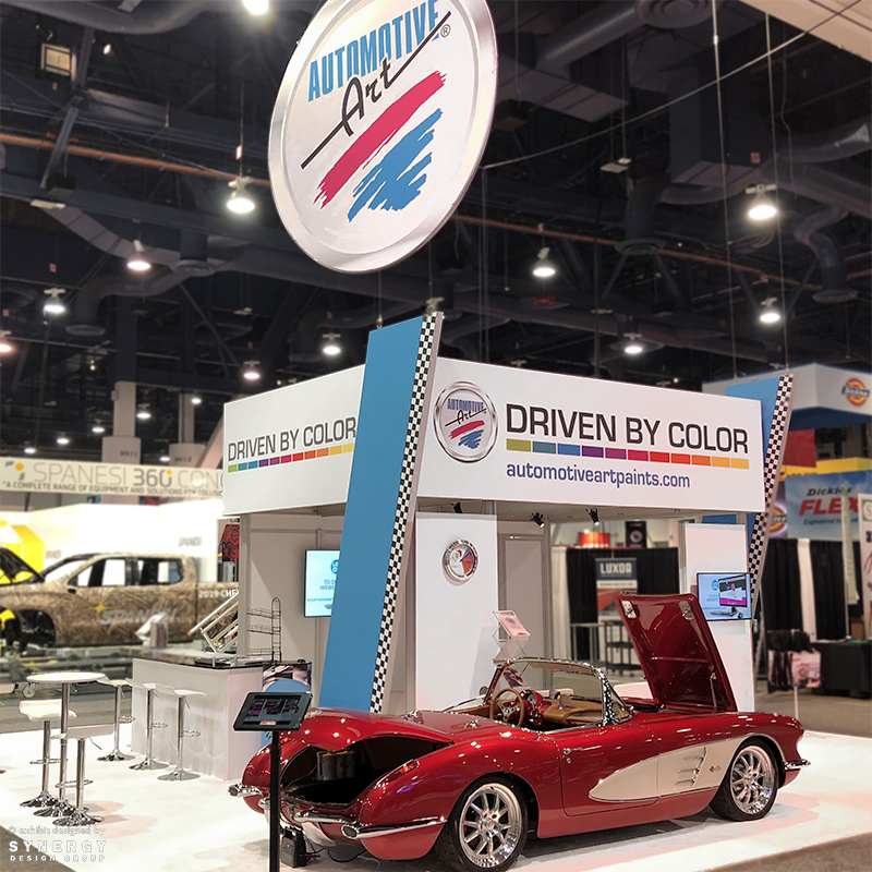 automotive art double deck trade show booth