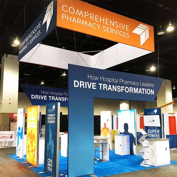 comprehensive pharmacy services island trade show booth