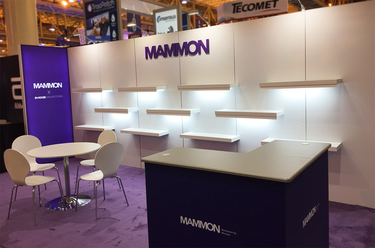 mammon custom 10x20 inline trade show display led shelves